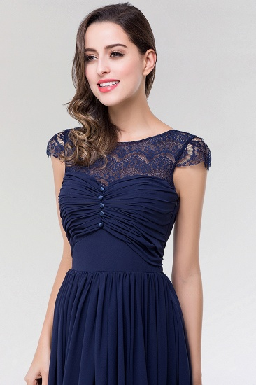 Elegant Lace Scoop Sleeveless Navy Bridesmaid Dress with Buttons_7
