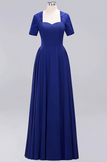 BMbridal Dark Navy Open-Back Long Bridesmaid Dress With Short Sleeves_26