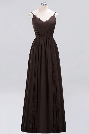 BMbridal Elegant Spaghetti Straps Long Bridesmaid Dress Lace V-Neck Maid of Honor Dress_11