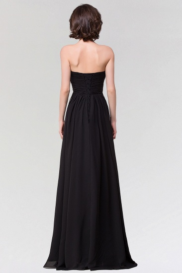 Sexy Strapless Sweetheart Long Black Chiffon Bridesmaid Dress with Ruffles_3
