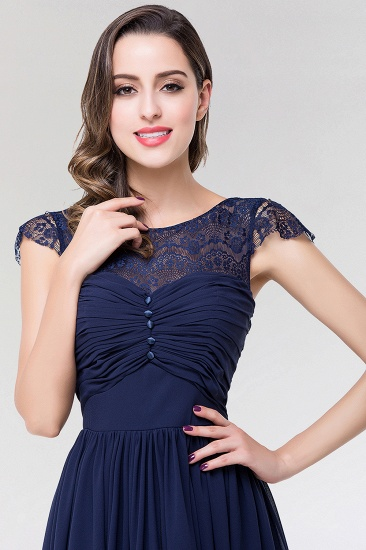 Elegant Lace Scoop Sleeveless Navy Bridesmaid Dress with Buttons_6