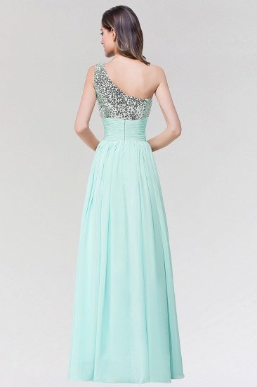 Sparkly One-shoulder Ruffle Long Bridesmaid Dresses with Sequined Top_3
