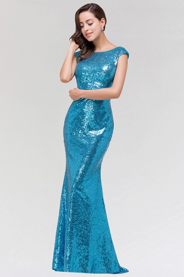 Shinny Sequined Long Mermaid Blue Affordable Bridesmaid Dress_4