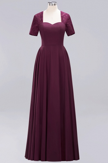 BMbridal Dark Navy Open-Back Long Bridesmaid Dress With Short Sleeves_20