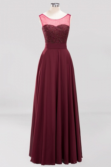 BMbridal Gorgeous Lace Jewel Affordable Pink Bridesmaid Dress with Beadings_4