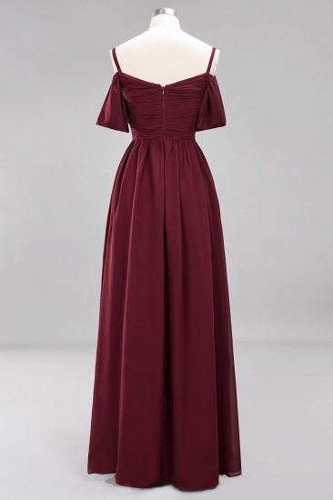 Chic Off-the-shoulder Burgundy Bridesmaid Dress with Spaghetti Straps_59