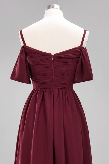 Chic Off-the-shoulder Burgundy Bridesmaid Dress with Spaghetti Straps_63