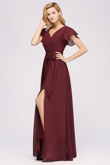 Burgundy V-Neck Long Bridesmaid Dress With Short-Sleeves_55