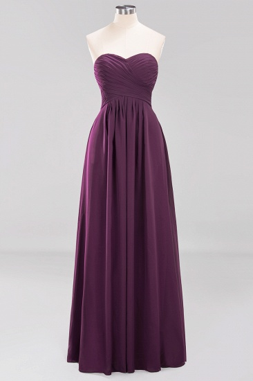 Vintage Sweetheart Long Grape Affordable Bridesmaid Dresses Online_19