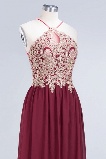 Chic Spaghetti Straps Long Burgundy Backless Bridesmaid Dress with Appliques_8