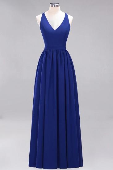 Affordable Chiffon V-Neck Sleeveless Lace Bridesmaid Dress Online_26