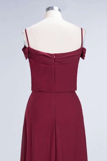 Elegant Off-the-Shoulder Burgundy Bridesmaid Dress Online Spaghetti-Straps Cheap Maid of Honor Dress_13