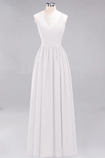 Affordable Chiffon V-Neck Sleeveless Lace Bridesmaid Dress Online_1