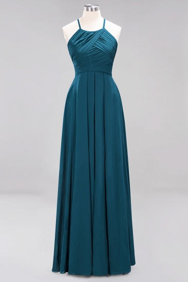 BMbridal Halter Crisscross Pleated Bridesmaid Dress Blue Chiffon Sleeveless Maid of Honor Dress_27