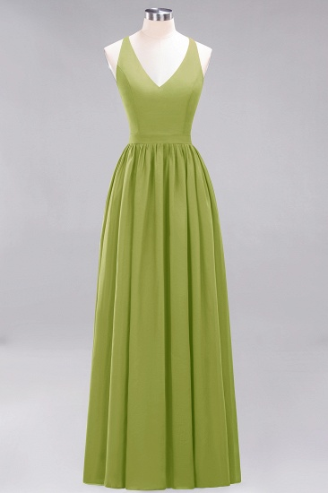 Affordable Chiffon V-Neck Sleeveless Lace Bridesmaid Dress Online_34