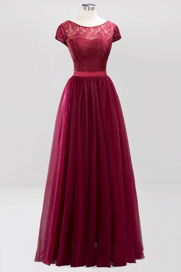 Elegant Lace Cap Sleeves Burgundy Bridesmaid Dresses Cheap_9