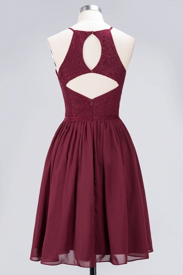 Lovely Burgundy Lace Short Bridesmaid Dress With Spaghetti-Straps_60
