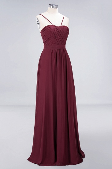 Chic Burgundy Sweetheart Long Bridesmaid Dress With Spaghetti-Straps_6