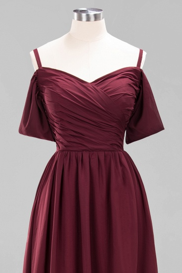 Chic Off-the-shoulder Burgundy Bridesmaid Dress with Spaghetti Straps_61