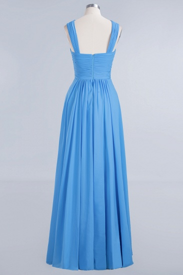 Chic Crisscross Ocean Blue Junior Bridesmaid Dresses Affordable Chiffon Ruffle Maid of Honor Dresses_9