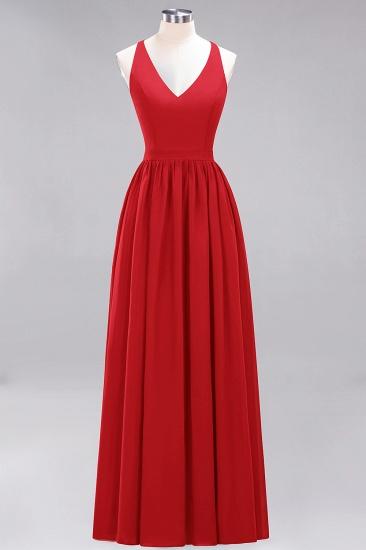 Affordable Chiffon V-Neck Sleeveless Lace Bridesmaid Dress Online_8