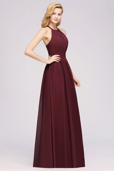 Elegant High-Neck Halter Long Affordable Bridesmaid Dresses with Ruffles_57