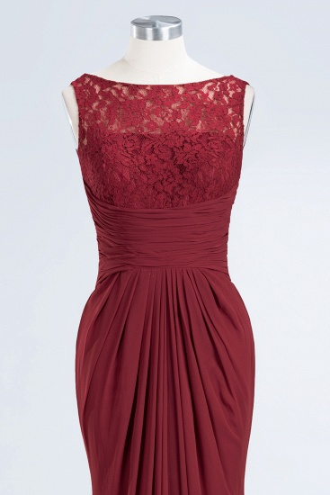 BMbridal Mermaid Scoop Sleeveless Lace Burgundy Bridesmaid Dresses with Pleats_11