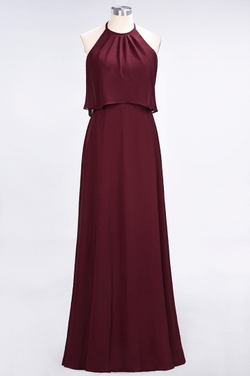 BMbridal Gorgeous Chiffon Flounced Crinkle Sheath Long Burgundy Bridesmaid Dresses_51