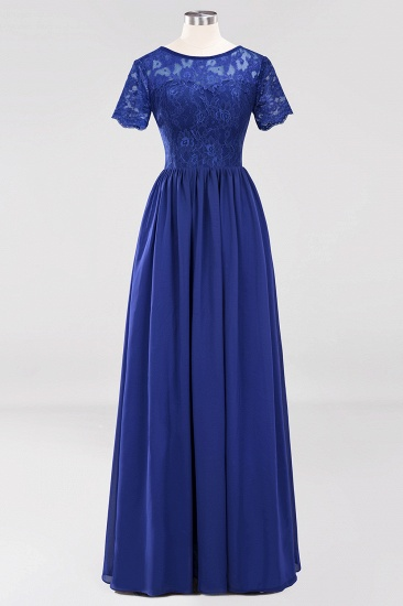 Elegant Dark Navy Long Lace Bridesmaid Dresses with Short-Sleeves_26