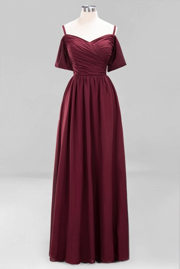 Chic Off-the-shoulder Burgundy Bridesmaid Dress with Spaghetti Straps_58