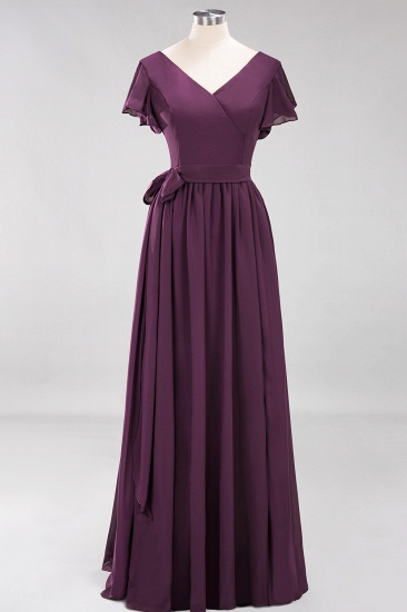 Burgundy V-Neck Long Bridesmaid Dress With Short-Sleeves_20