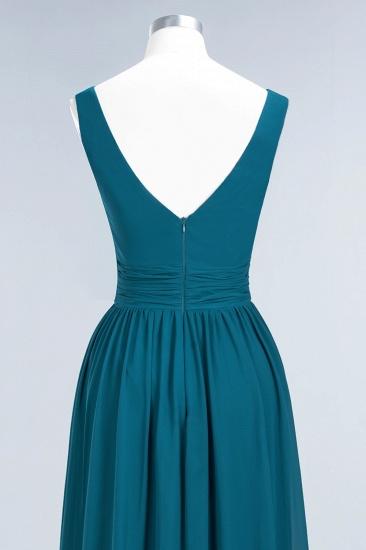 Modest Sleeveless V-Neck Long Chiffon Bridesmaid Dress Online with Ruffle_61