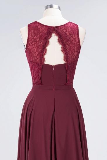 BMbridal Elegant Roud Neckline Sleeveless Burgundy Lace Bridesmaid Dress Online_10