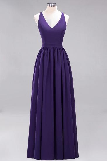 Affordable Chiffon V-Neck Sleeveless Lace Bridesmaid Dress Online_19