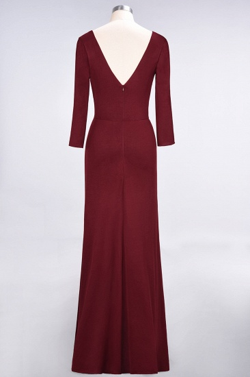 Popular Spandex Long-Sleeves Burgundy Bridesmaid Dresses with Side-Slit_39