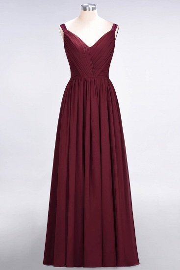 BMbridal Chic V-Neck Straps Ruffle Burgundy Bridesmaid Dresses with Bow Sash_59
