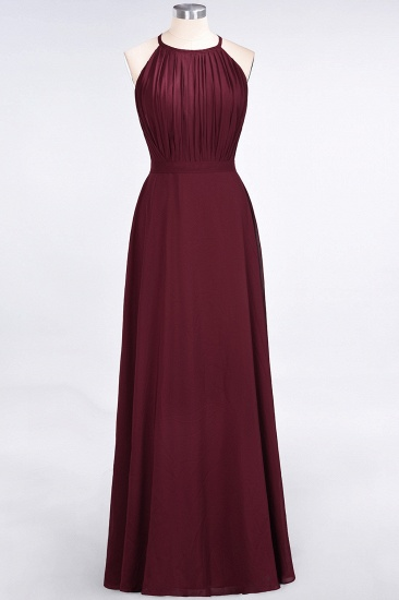 Modest Chiffon Jewel Ruffle Burgundy Long Bridesmaid Dresses Online_1