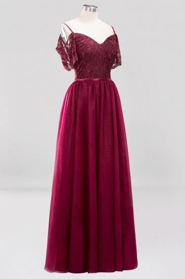 BMbridal Affordable Chiffon Off-the-Shoulder Burgundy Lace Bridesmaid Dresses_6