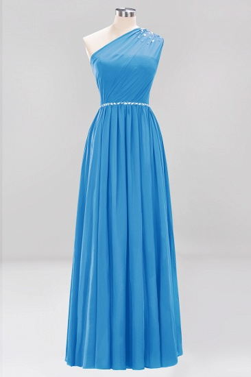 Modest One-shoulder Royal Blue Affordable Bridesmaid Dress with Beadings_25