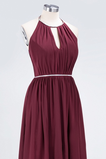 Chic Burgundy Halter Long Backless Bridesmaid Dress with Beadings_13