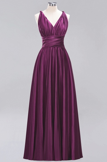 Chic Burgundy Chiffon Long Bridesmaid Dresses With One Shoulder_19