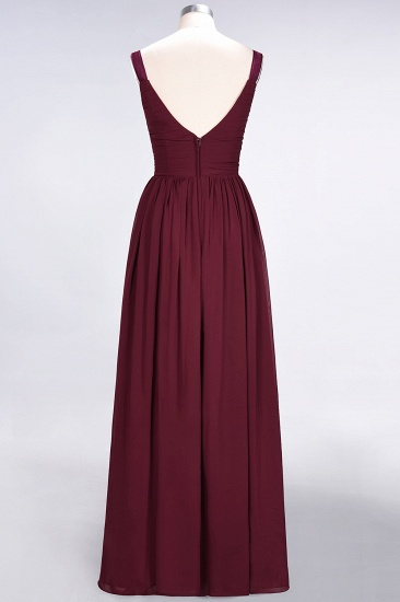 BMbridal Chic V-Neck Straps Ruffle Burgundy Bridesmaid Dresses with Bow Sash_60