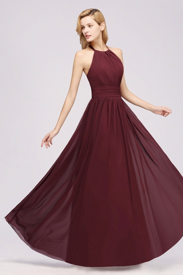 Elegant High-Neck Halter Long Affordable Bridesmaid Dresses with Ruffles_59