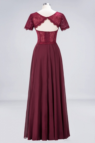 Chic Lace Long Burgundy Backless Bridesmaid Dress With Short-Sleeves_11