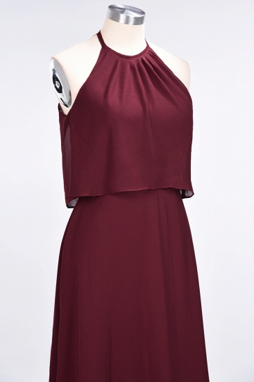 Gorgeous Chiffon Flounced Crinkle Sheath Long Burgundy Bridesmaid Dresses_55