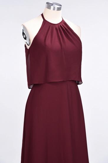 BMbridal Gorgeous Chiffon Flounced Crinkle Sheath Long Burgundy Bridesmaid Dresses_55