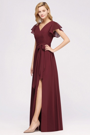 Burgundy V-Neck Long Bridesmaid Dress With Short-Sleeves_54