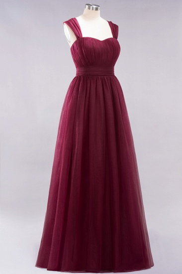 Gorgeous Sweetheart Straps Ruffle Burgundy Bridesmaid Dresses Online_39