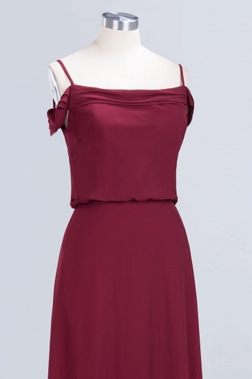 Elegant Off-the-Shoulder Burgundy Bridesmaid Dress Online Spaghetti-Straps Cheap Maid of Honor Dress_12