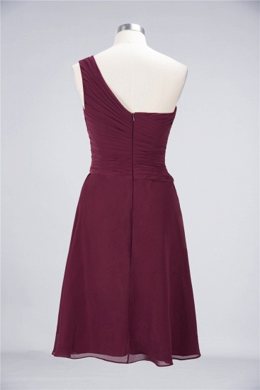 Chic One-Shoulder Short Burgundy Affordable Bridesmaid Dress with Ruffle_60